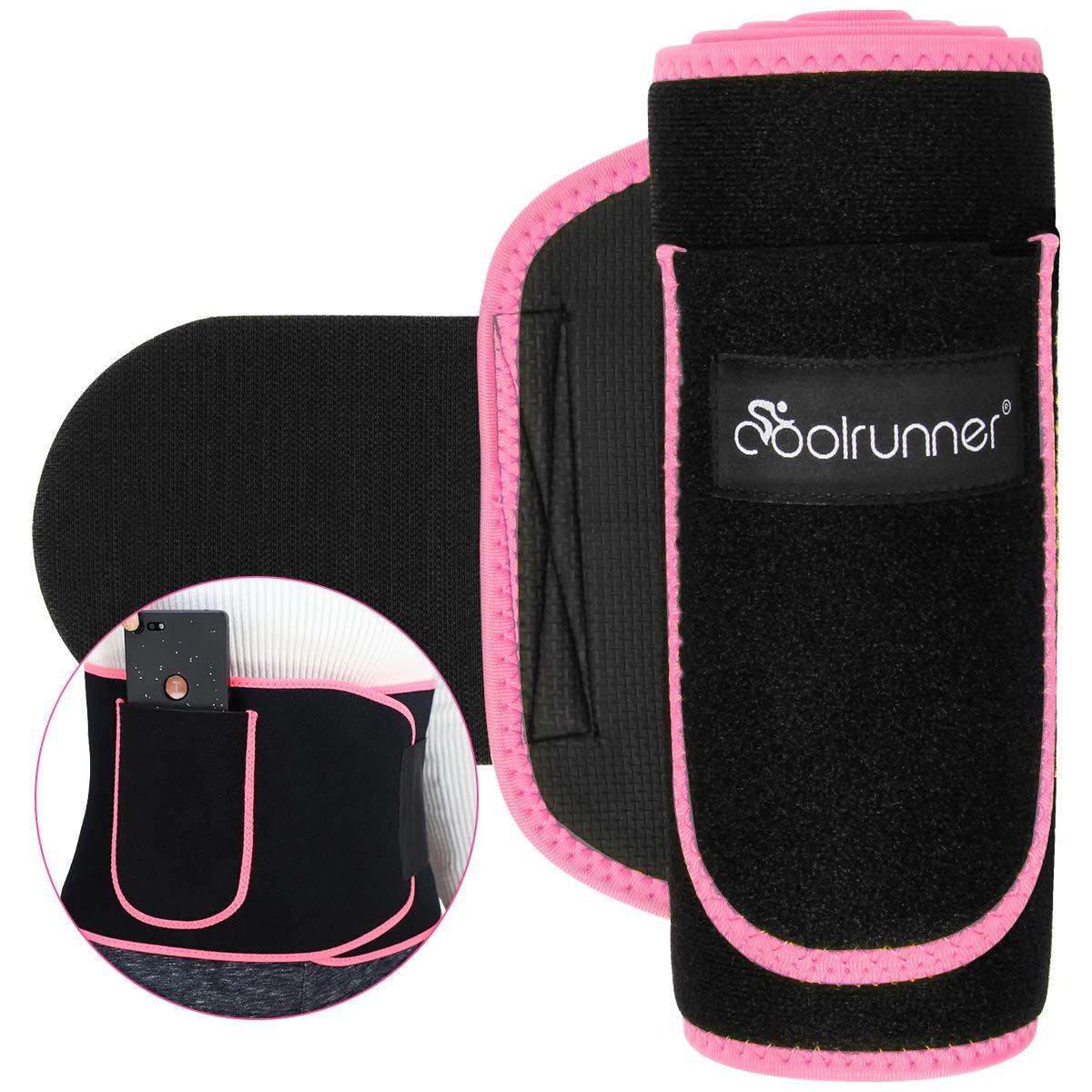 Coolrunner Sweat Waist Trimmer, Waist Trimmer Belt for Women Men, Workout Neoprene Ab Belt for Weight Loss Slimmer Kit, Stomach Fat Burner, Low Back Lumbar Support with Sauna Suit Effect, Phone Pocket