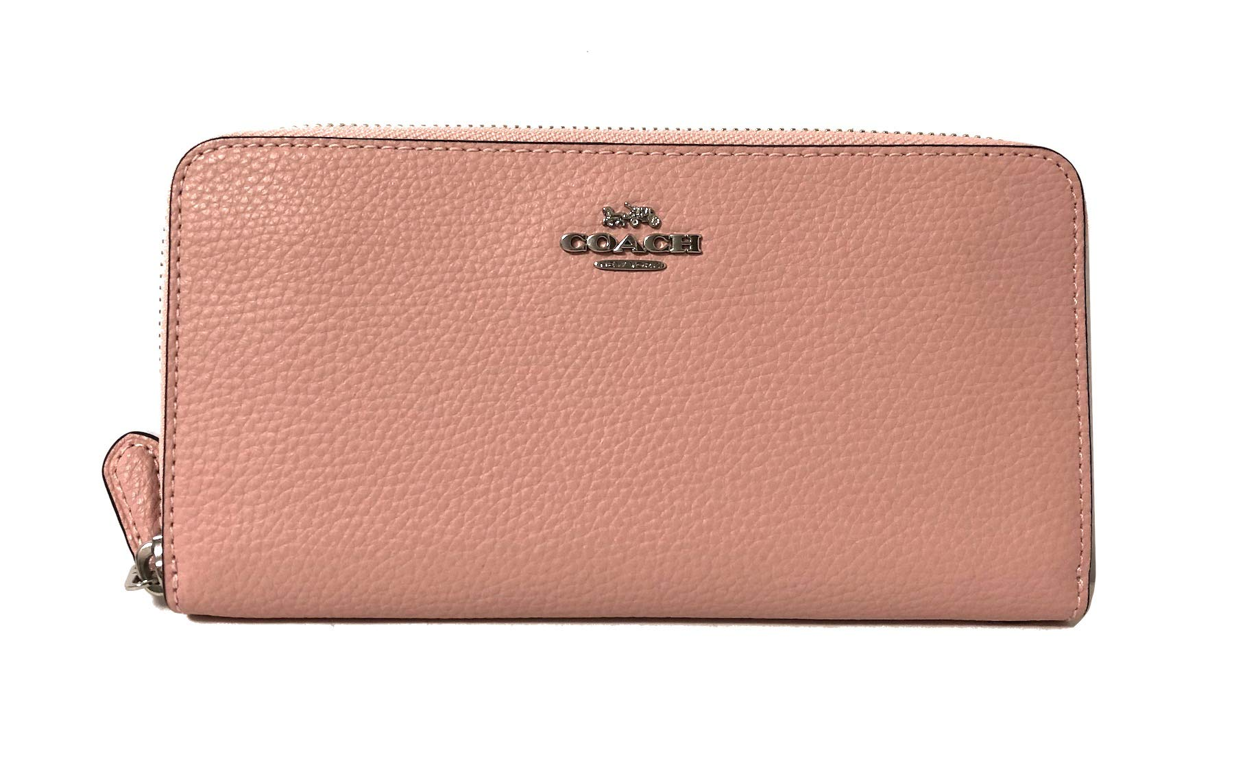 Coach Pebble Leather Accordion Zip Around Wallet (SV/Petal), Large
