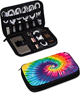 3D Tie Dye Electronics Organizer, Digital Gadget Organizers Cable Bag Pencil Case Accessories Double Layer Travel Cable Storage Bag for Cable,Portable Hard Drives,USB,Earphones,Power Banks M Thick