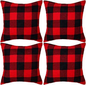 Ouddy Set of 4 Retro Farmhouse Buffalo Plaid Check Pillow Covers 20 x 20, Decorative Square Christmas Throw Pillow Covers Cushion Cases Pillowcase for Sofa Bedroom Home Outdoor Decor, Red and Black