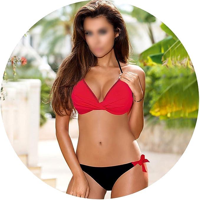 951bffee1a05a Amazon.com: Push Up Bikini 2019 Cross Patchwork Women Swimwear Swimsuit  Halter Top Print Maillot Biquini Bathing Suits,RDBE,XL: Clothing