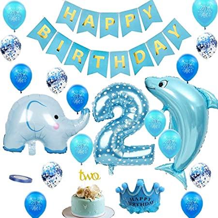 2nd Birthday Decorations For Boys 2nd Birthday Party Decorations Supplies Blue Happy Birthday Banner Pack With Latex And Foil Balloons Kit Amazon Co Uk Kitchen Home