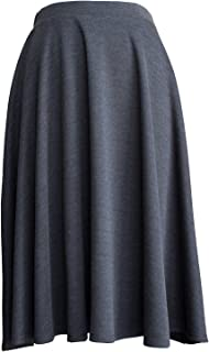 product image for Womens Elastic Waist Midi Long A Line Flare Pleated Small Plus Size Skirt Made in USA