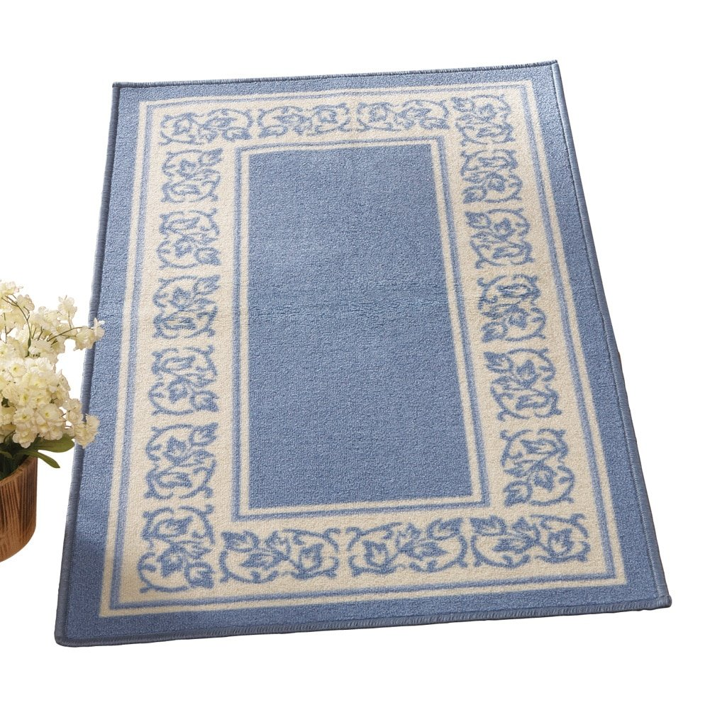 Collections Etc Floral Border Skid-Resistant Accent Rug, Blue, 20 X 59