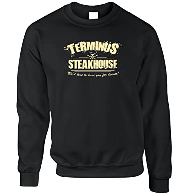 af9faa8c9 Tim And Ted Terminus Steakhouse Dead Walking Geeky Nerdy Printed Design  Zombie Undead Survival Human Flesh Meat Jumper Sweater Sweatshirt Cool  Funny Gift ...