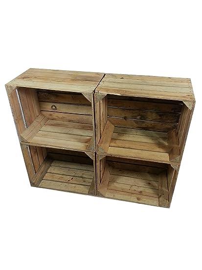 4 x masivas - cajas de madera usados - Cajas de vino - para muebles -