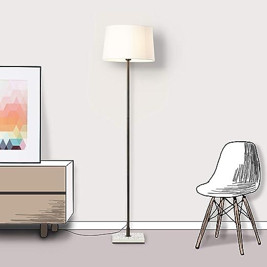 Lámpara de pie Lightbox, 1 foco, 1 bombilla E27, máx. 40 W de metal/tela en color crema y blanco.: Amazon.es: Iluminación