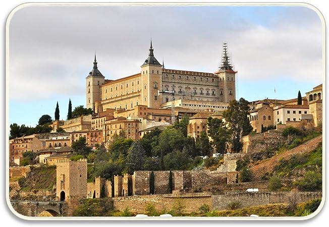 saletopk España Castillo Alcázar Toledo Alfombra de Piso Decoración para el hogar Alfombra Rectángulo Interior Felpudo Cocina Piso 15.7