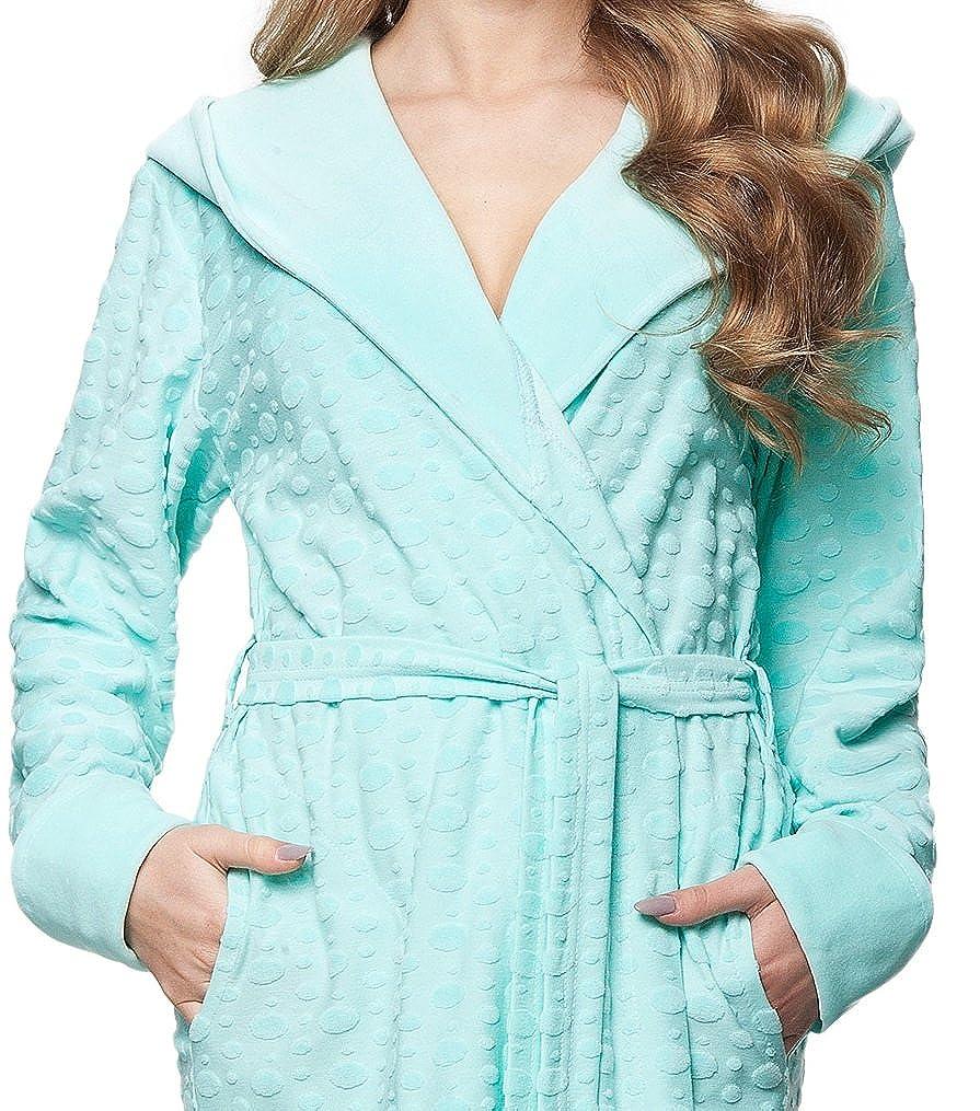verschiedene Modelle DOROTA kuscheliger und moderner Baumwoll-Bademantel mit Taschen Bindeband /& Kapuze
