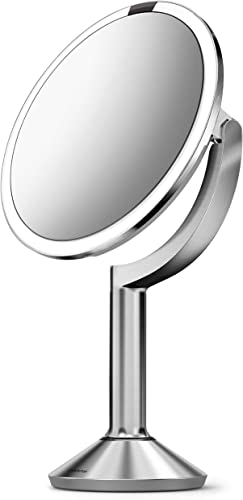 simplehuman ST3024 20cm Sensor Mirror Trio with Touch-Control Brightness, Brushed Stainless Steel