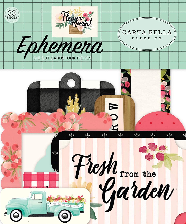 Carta Bella Paper Company Flower Market ephemera, teal, pink, tan, green, cream