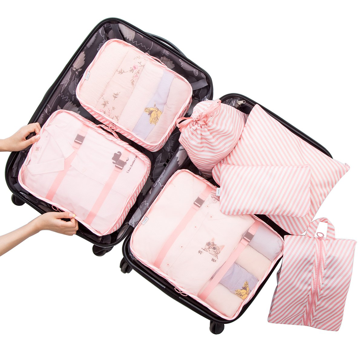 Belsmi 7 Set Packing Cubes With Shoe Bag - Compression Travel Luggage Organizer (Pink Stripes)
