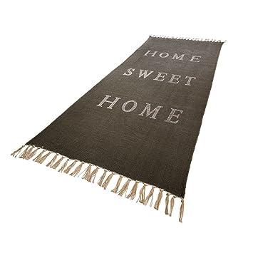 "Frisch Teppich ""Home sweet Home"" aus 100% Baumwolle Grau 70 x 200 cm  CP23"
