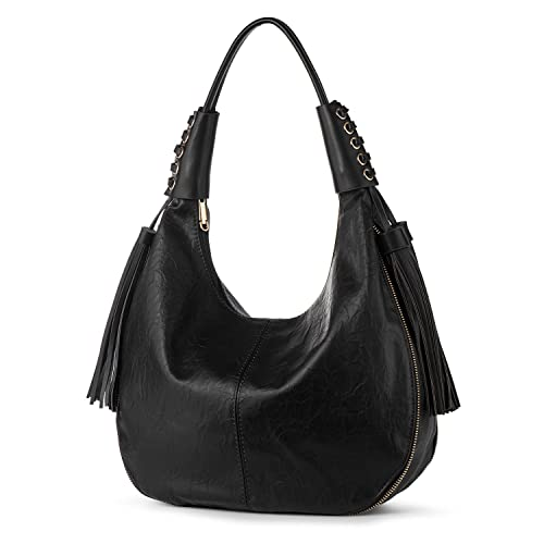 ed3c33baea52 Amazon.com  Hobo Shoulder Bag for Women Vegan Leather Top Handle Handbag  Tote Purse Work Travel Large Capacity Casual Tassels Black + Katloo Nail  Clipper  ...