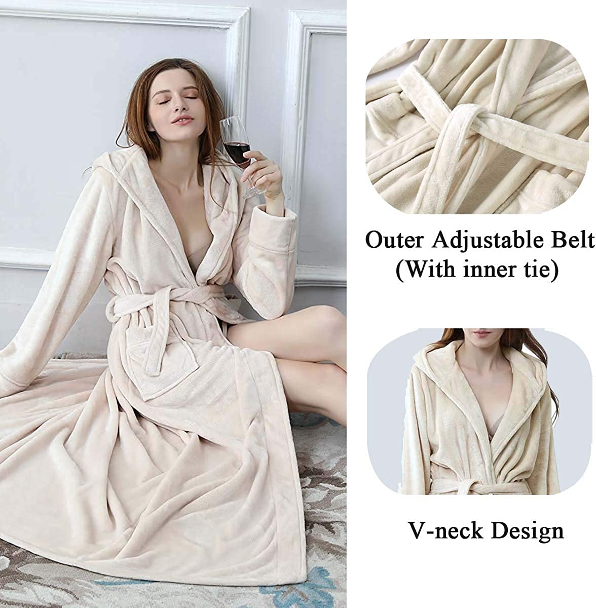 Long Hooded Robe for Women Luxurious Flannel Fleece Full Length Bathrobe Winter Warm Pajamas Shower Nightgown