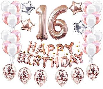 JeVenis 37 PCS Rose Gold 16th Birthday Decorations Artículos ...