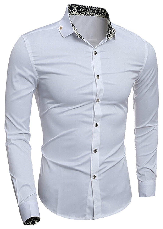 d3ae103647 White Miki Da Mens Contrast Collar Silm Silm Silm Shirt Casual Shirts 128e33