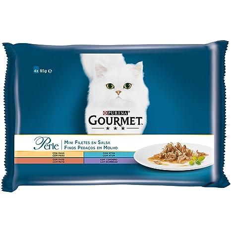 Purina Gourmet Perle Finas Láminas en Salsa comida para gato en Variedades de Pavo, Atún