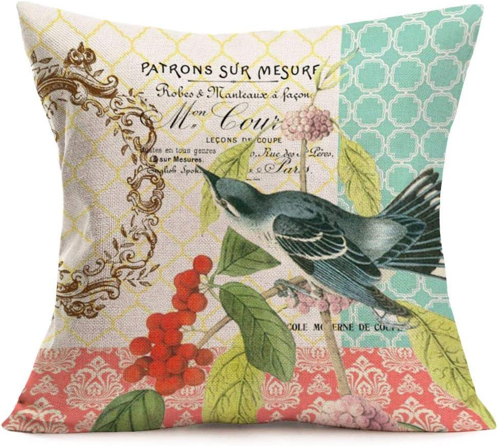 Smilyard Throw Pillow CoversAdorable AnimalsBirds MistletoeDecorative Pillow CaseCotton Linen Square Throw PillowcasesHome Couch Decor Quote Cushion Cover 18X18 Inch(Birds Mistletoe06)