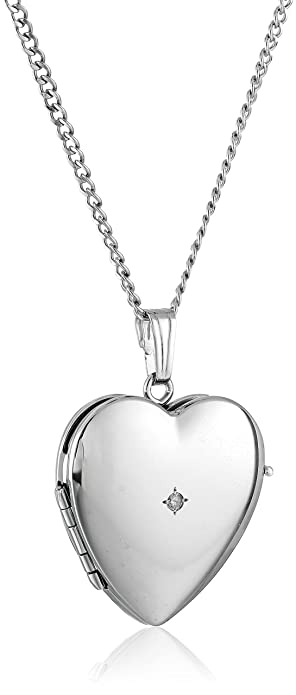 062a0400a22 Image Unavailable. Image not available for. Color  Sterling Silver  Diamond-Accented Four-Picture Heart Locket Necklace ...
