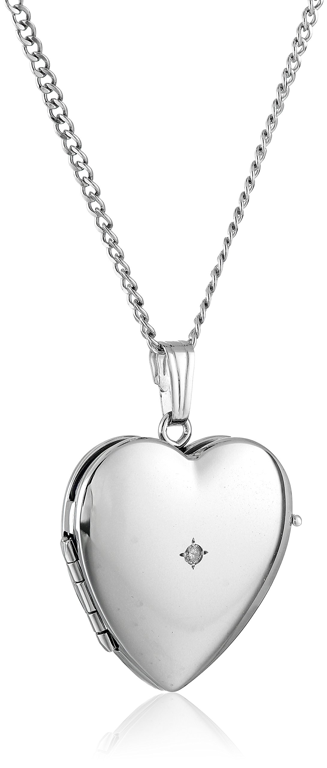 Sterling Silver Diamond-Accented Four-Picture Heart Locket Necklace, 18''
