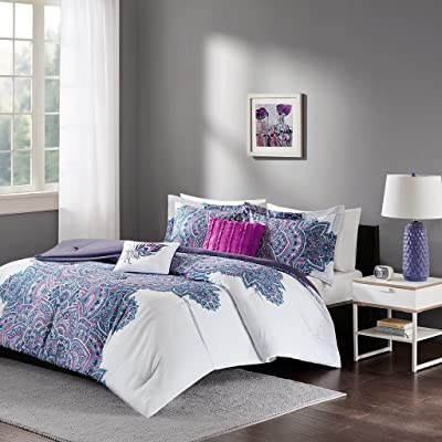 Intelligent Design - Mila Comforter Set Full/Queen Size - Purple, Medallion – 5 Piece Bed Sets – All Season Ultra Soft Microfiber Teen Bedding - Perfect For Dormitory-Great For Guest and Girls Bedroom: Home & Kitchen