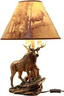 Ebros Gift Wildlife Nature Bull Moose Grand Elk Desktop Table Lamp With  Nature Printed Shade Home