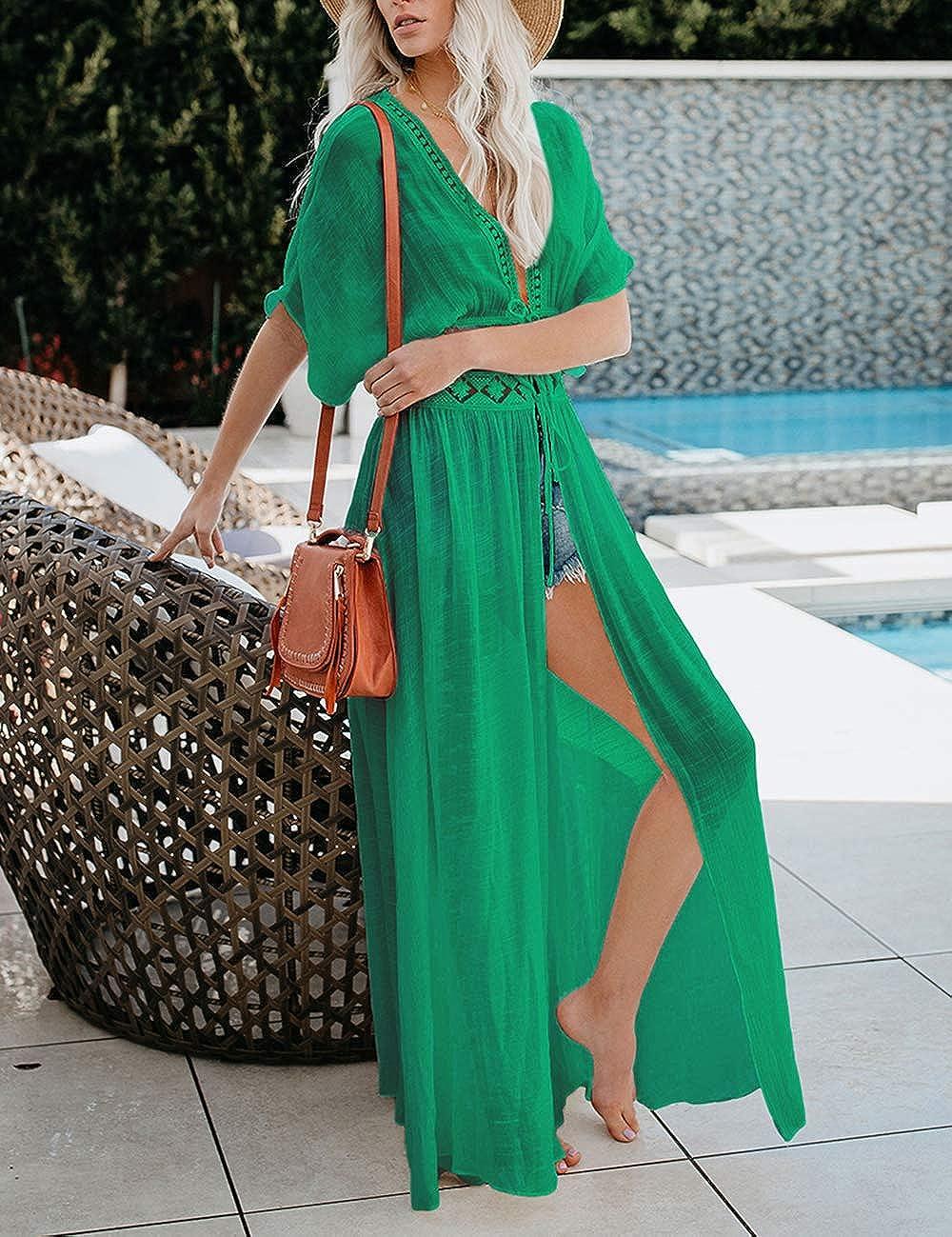 Bsubseach Long Maillot De Bain Couvrir D/ét/é Kimono /À Manches Courtes Plage Open Front Cardigan Couvre Ups pour Femmes Vert