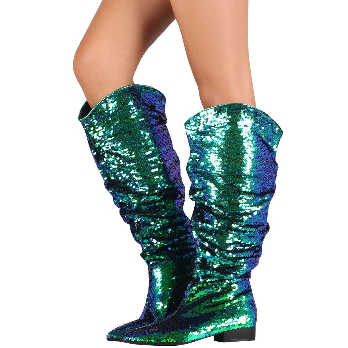 CAPE ROBBIN Womens Pointy Toe Knee High Pull On Slouchy Cowboy Western Low Flat Heel Boots 7.5 Mermaid