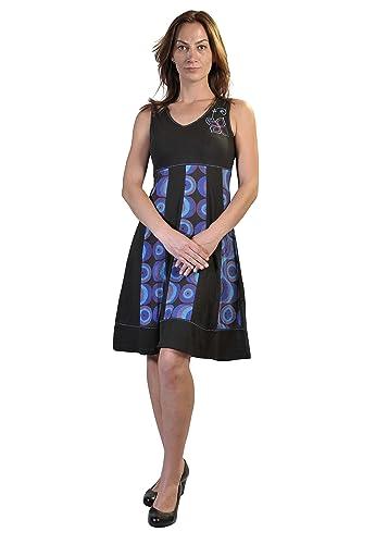 Estate senza maniche con scollo a V vestito da donna, con stampa a bolle e Embroidery
