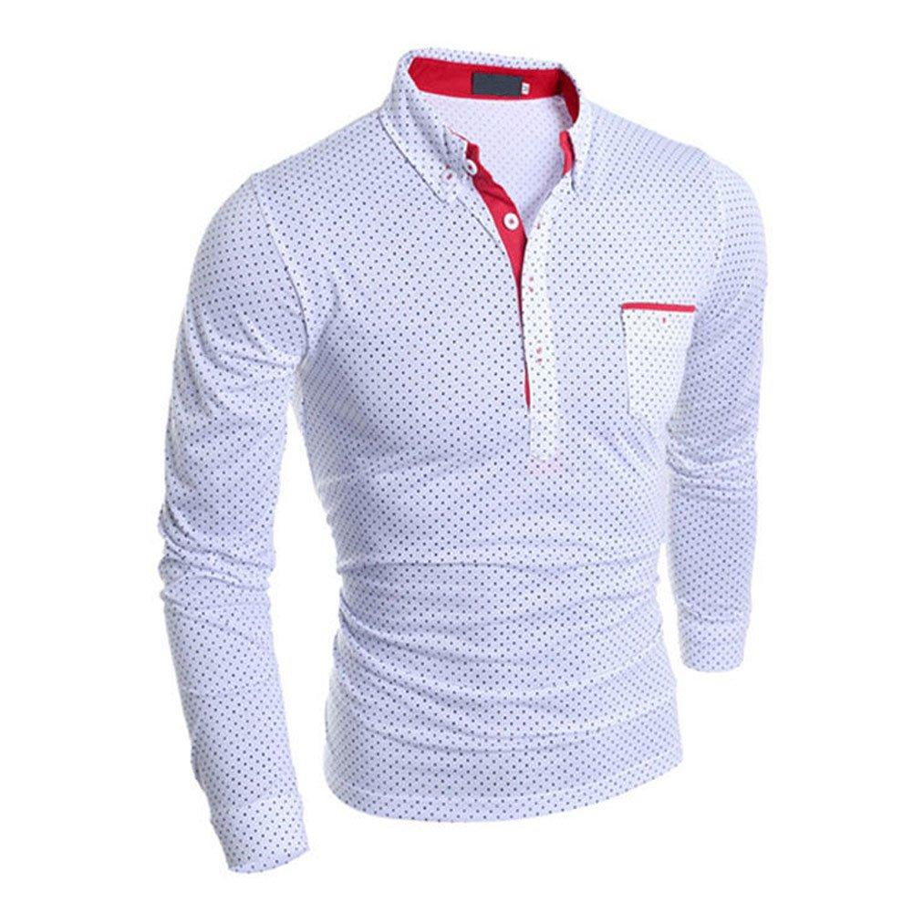 Gracefulvara Fashion Mens Long Sleeve Shirts Casual Stylish Dot Tops