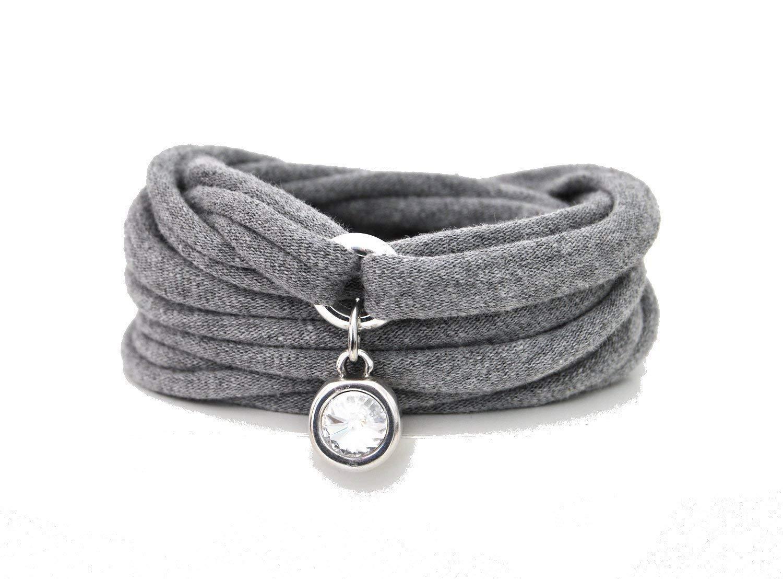 Armband Wickelarmband aus Stoff weich jeansblau oder in Wunschfarbe 60 Varianten mit Herz in silber individuelle Geschenke mit Liebe
