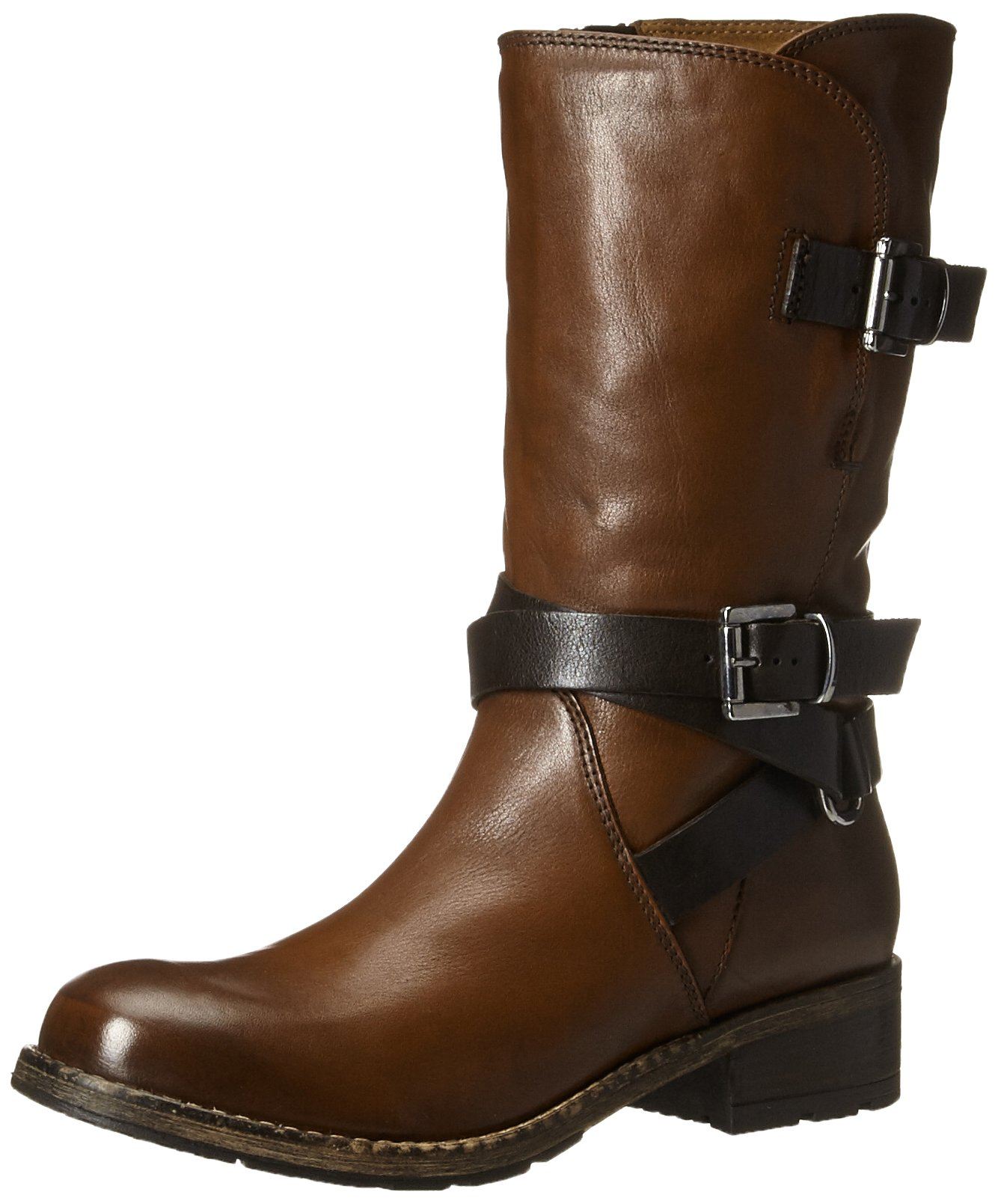 CLARKS Women's Volara Melody Motorcycle Boot, Rust Leather, 7.5 M US