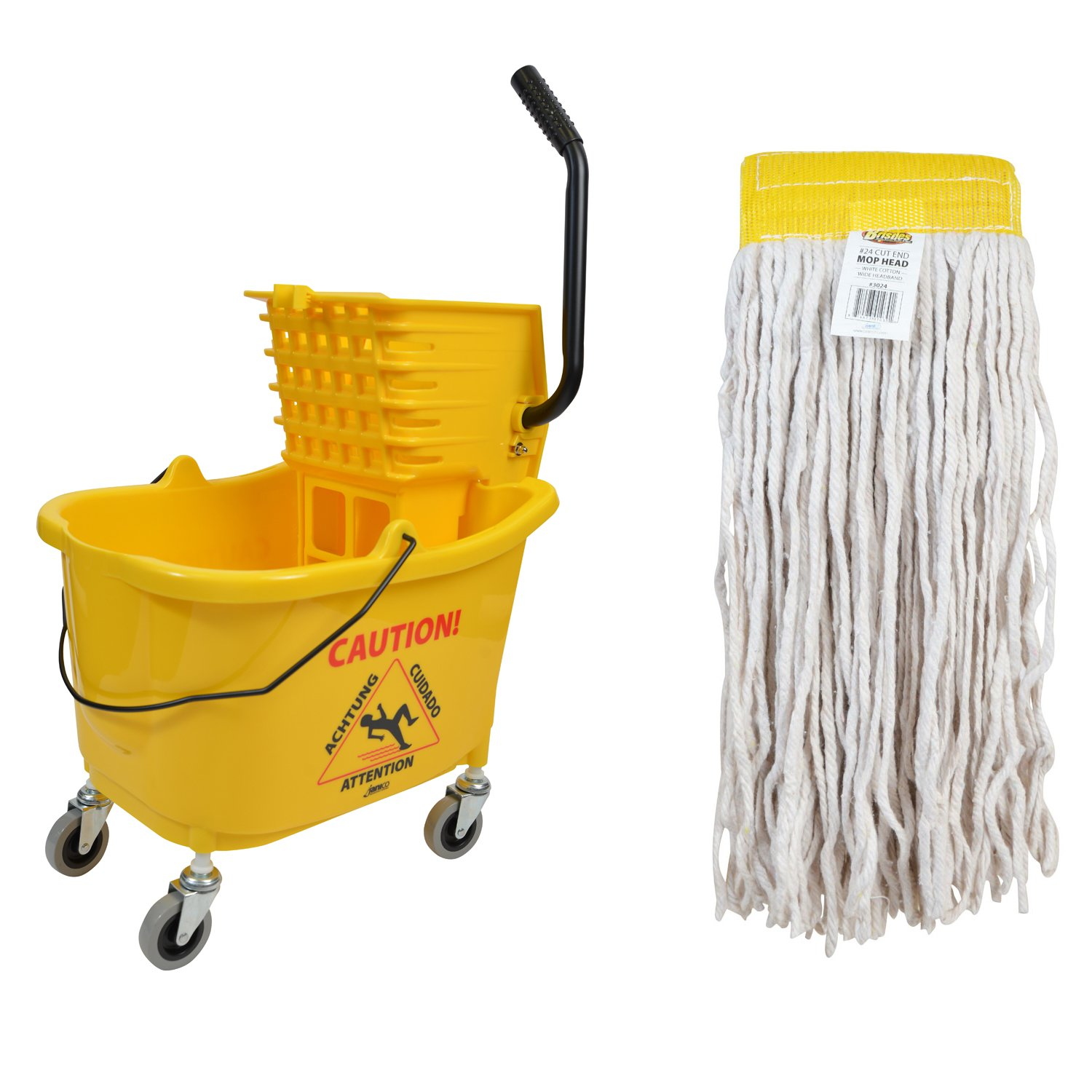 Janico 1010-3024-4 Mop Bucket Side Press Wringer Combo with Wet Cut End Mop Head Replacement
