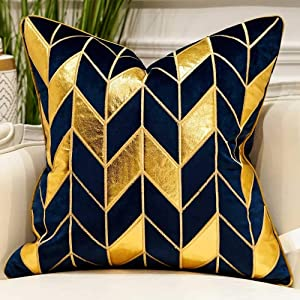 Avigers 20 x 20 Inches Navy Blue Gold Striped Cushion Case Luxury European Throw Pillow Cover Decorative Pillow for Couch Living Room Bedroom Car