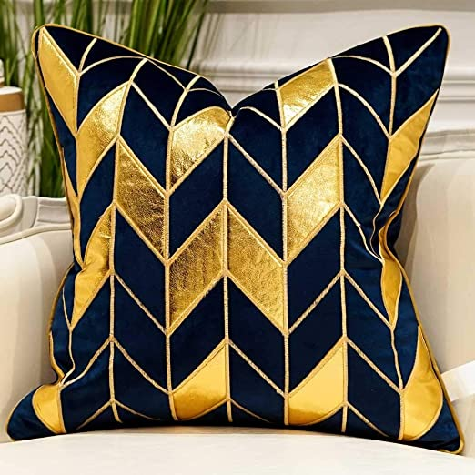 Amazon.com: Avigers 18 x 18 Inches Navy Blue Gold Striped Cushion