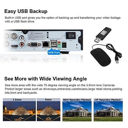 FLOUREON Kit de seguridad 1 X 4 canales DVR 960H + 2 X 700TVL Outdoor Negro Cámara UE: Amazon.es: Electrónica