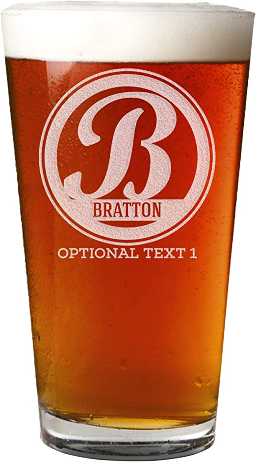 Amazon Com Personalized Etched Monogram 16oz Pint Glass Bratton Beer Glasses