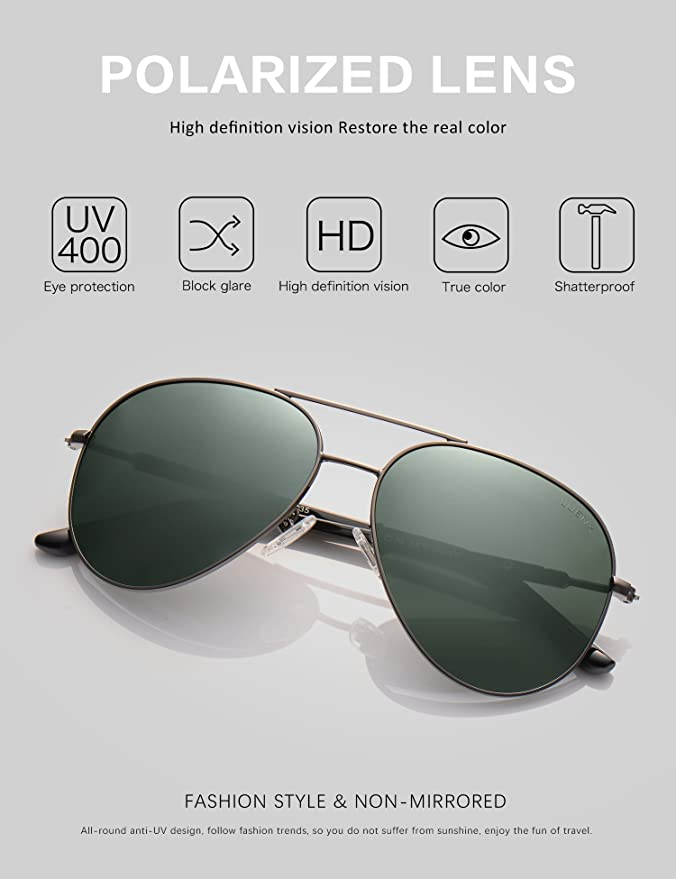 38cfc620f61 Amazon.com  LUENX Mens Womens Sunglasses Aviator Polarized Dark Green Lens  Gun Metal Frame - UV 400 Protection 60mm Driving  Sports   Outdoors