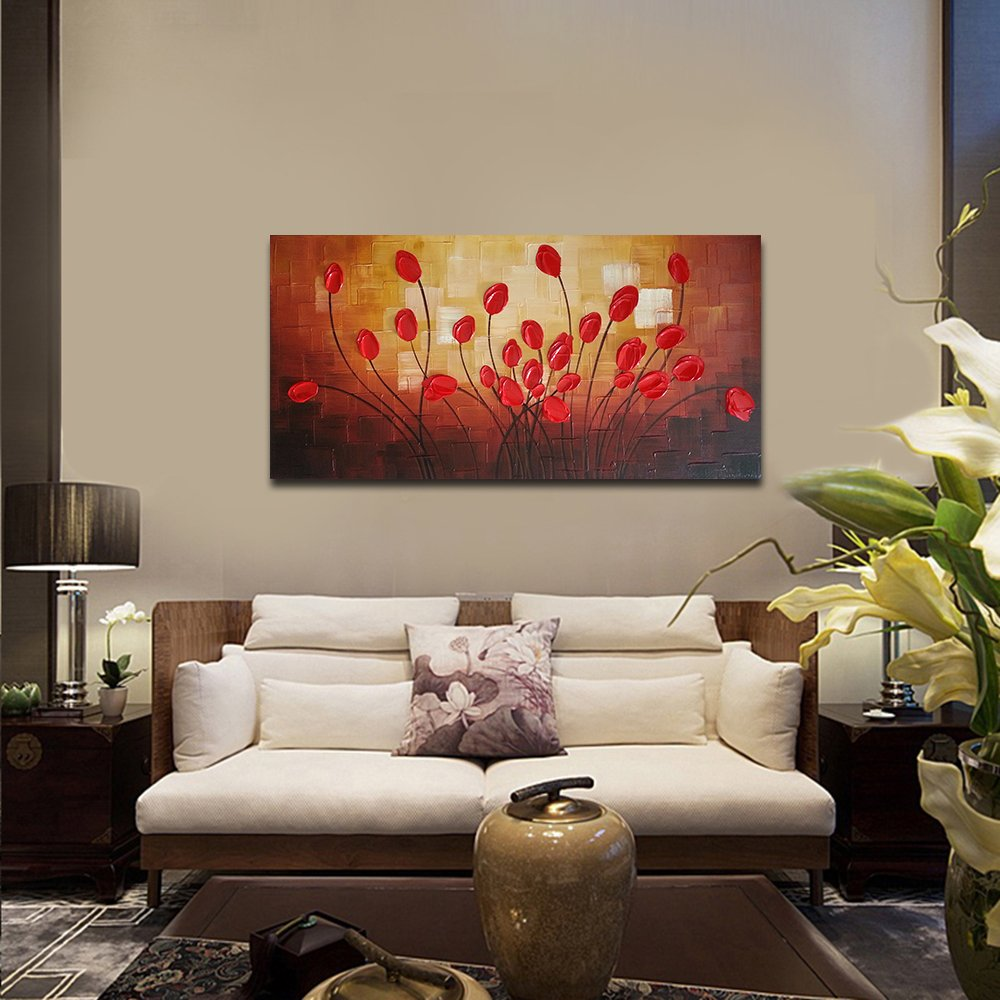 Modern Living Room Paintings Amazoncom Wieco Art Extra Large Budding Flowers Modern Wrapped