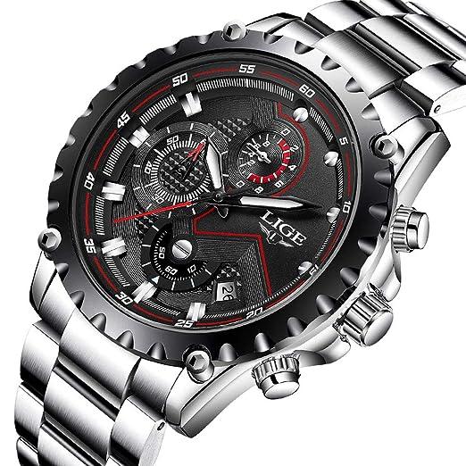 Reloj deportivo impermeable para hombre, de la marca de lujo LIGE, negocios, moda, analógico, de cuarzo, de acero, reloj de pulsera: Amazon.es: Relojes