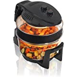Cookshop 12L Digital Halogen Oven with Hinged Lid Multi Cooker with Convection Oven Cooking, 5L Extender Ring & Accessories, Black