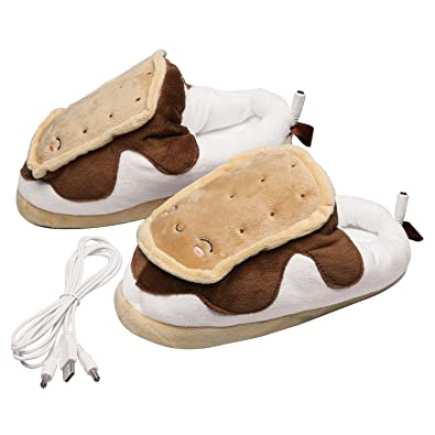 d2c5fc13a46e Smores USB Heated Plush Slippers  Amazon.co.uk  Shoes   Bags