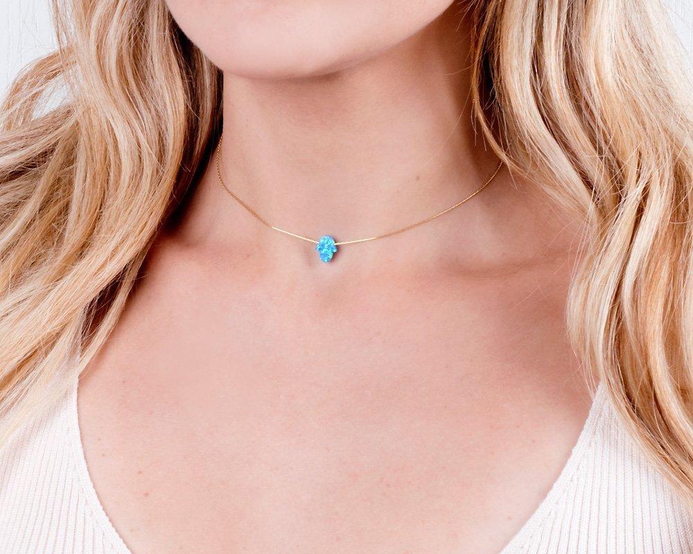 Blue Opal Hamsa on a Gold Filled Choker Necklace- Handmade Dainty Hand of Fatima Collar - 13.5 + 3 inch extending