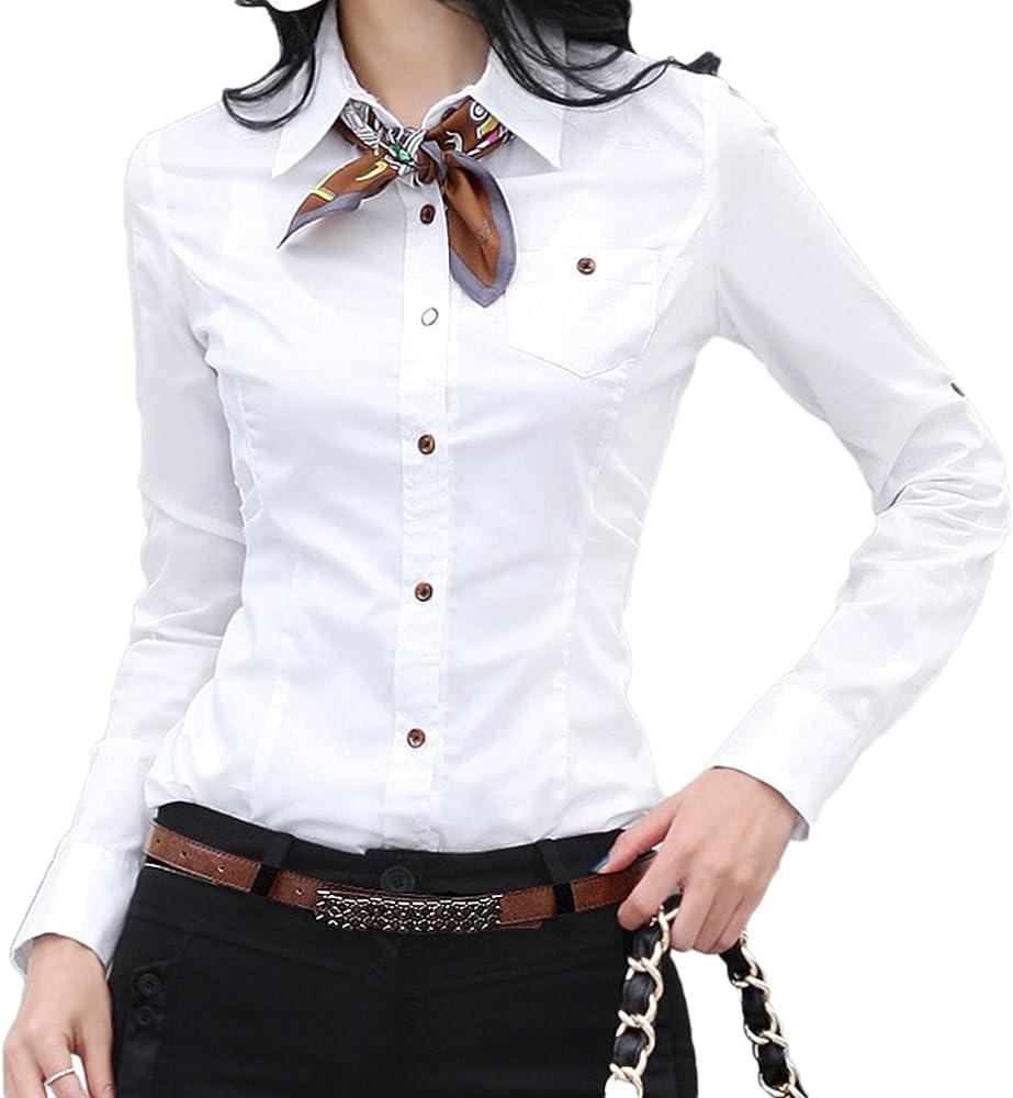 Nonbrand – Blusa para mujer de invierno, para la oficina, con botones, manga larga, de algodón, ajustada, tallas XS a M blanco blanco X-Small: Amazon.es: Ropa y accesorios