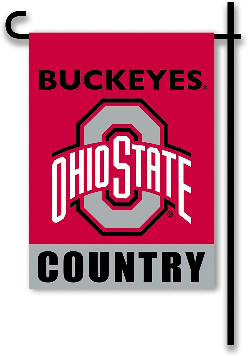 NCAA Ohio State Buckeyes 2-Sided Country Garden Flag, Team Color