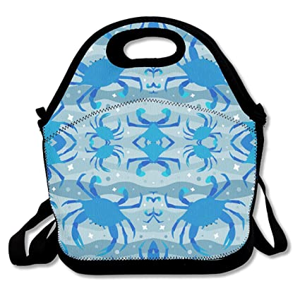 ad29a05f60 Klnsha7 Wandering Crabs in Blue Fabric Lunch Tote - Waterproof Reusable  Lunch Bags for Men Women