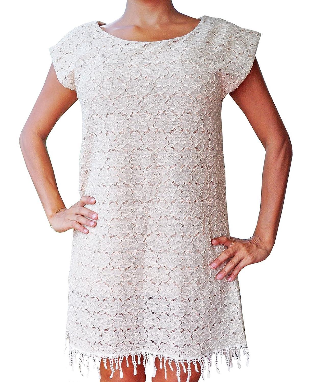 bonzaai Sommerkleid vintage boho Kleid Spitzen Fransen ...