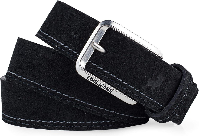 Lois - Cinturon piel serraje ante hombre mujer cuero. Talla Ajustable. Ancho 35 mm 501012