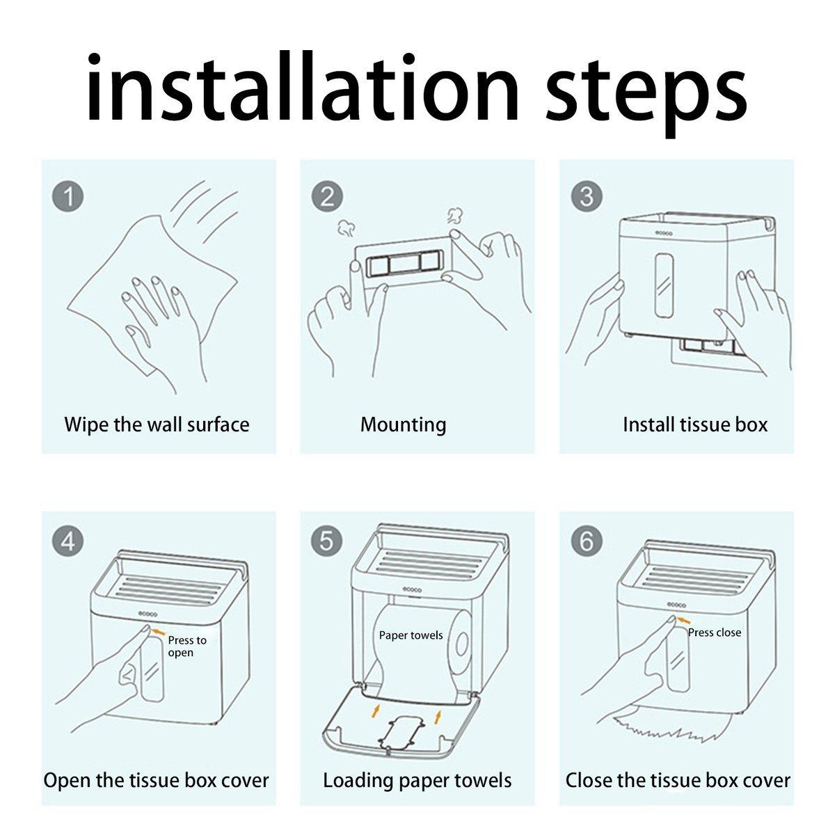 Gugutogo Uso práctico del hogar Baño Cocina Mano Dispensador de toallas de papel Soporte de pared Caja de almacenamiento de tejido (Color: blanco): ...